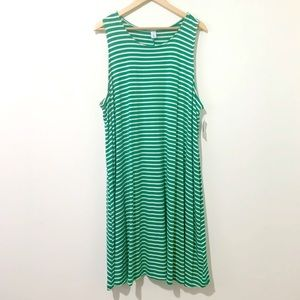NWT Old Navy Green White Striped Tank Dress XXL